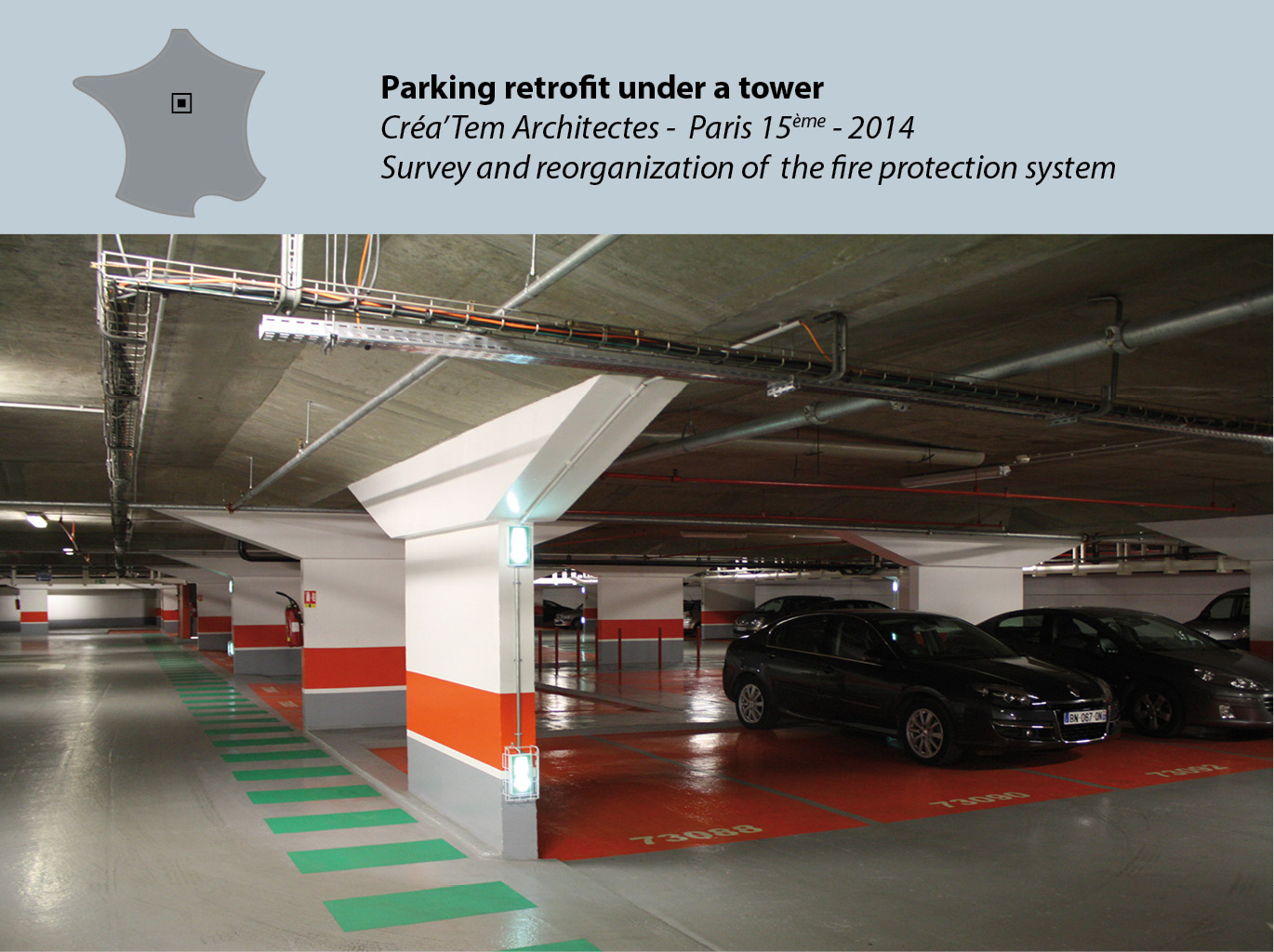 Parking retrofit under a tower