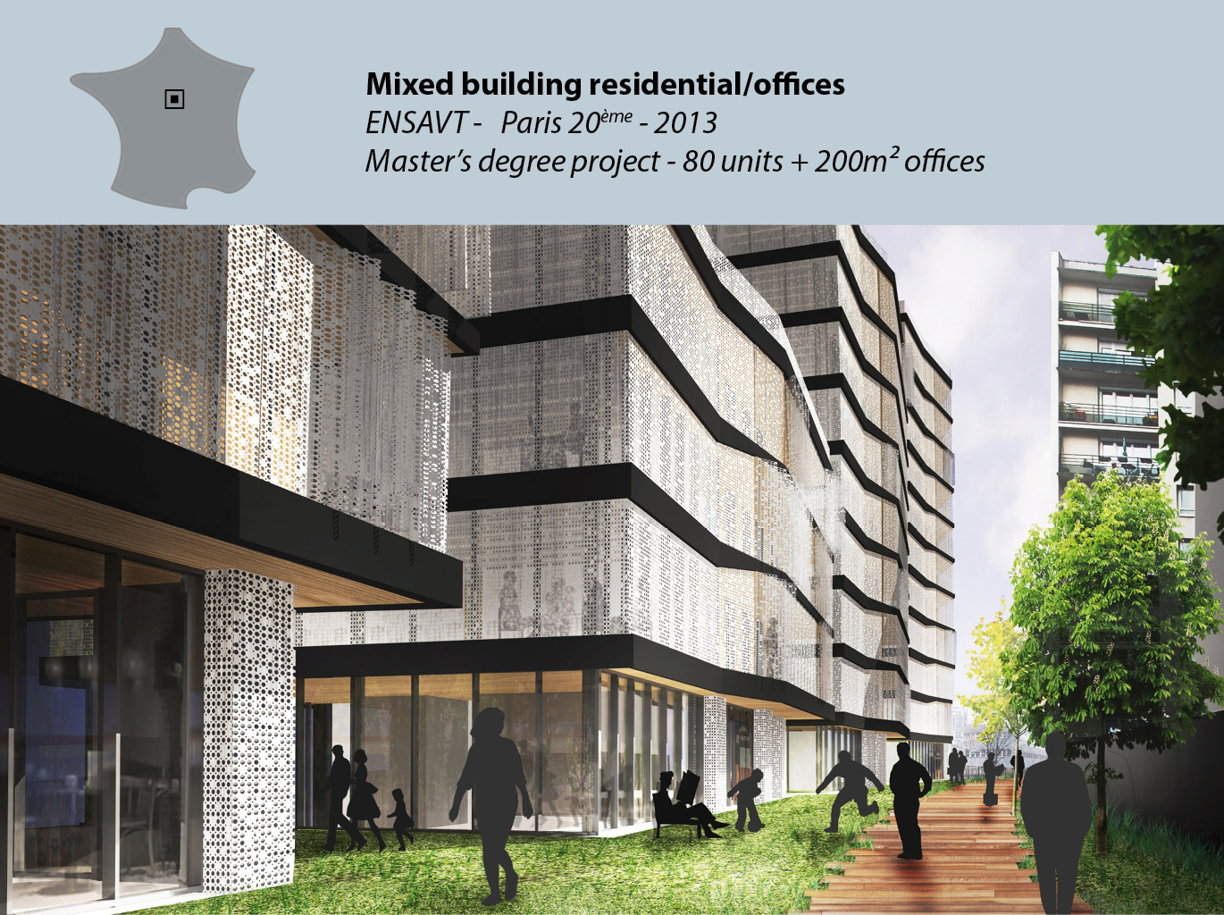 Mixed building residential/offices - Master's Degree project