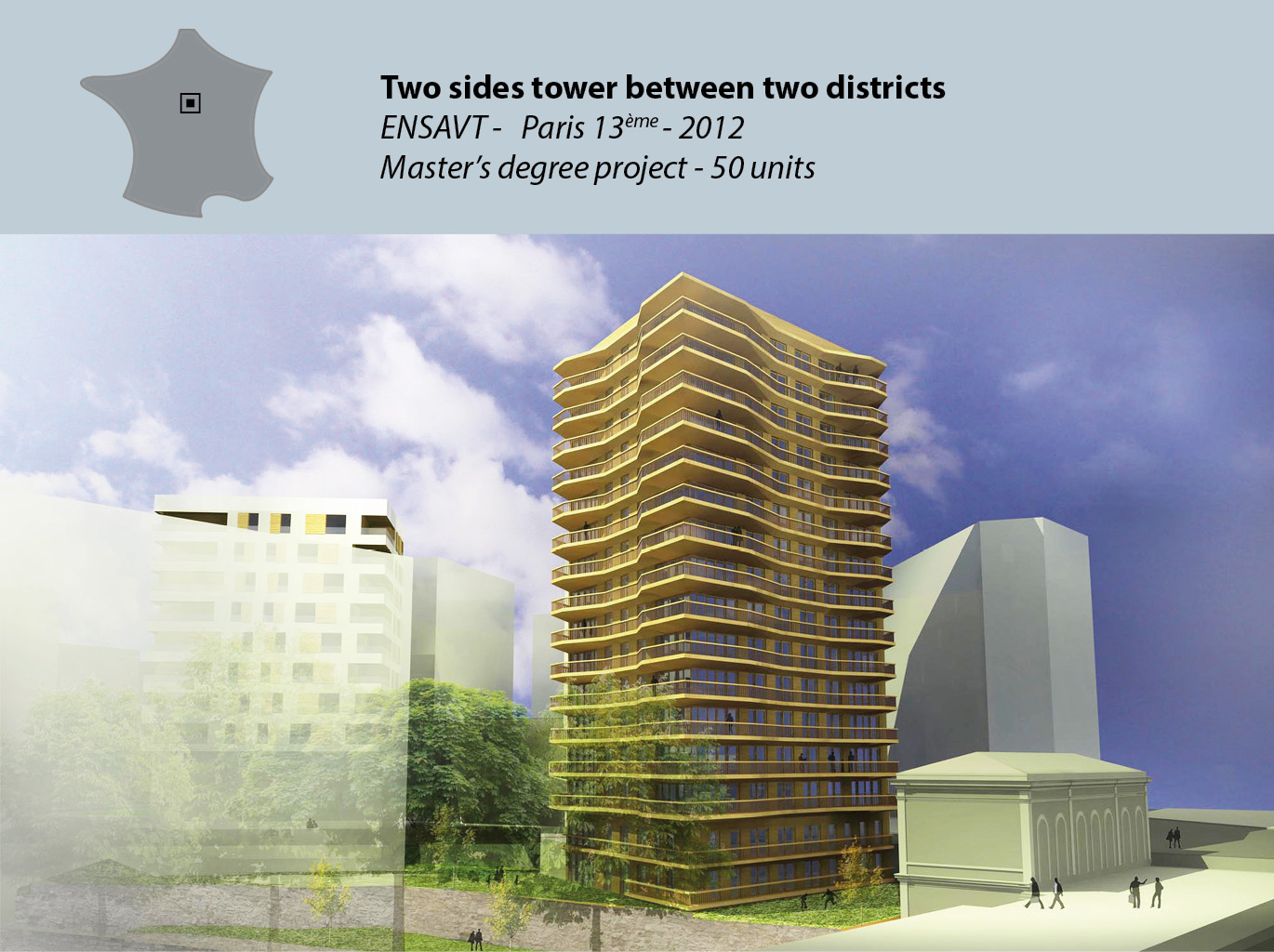 50 units in a two sides tower - Master's degree project