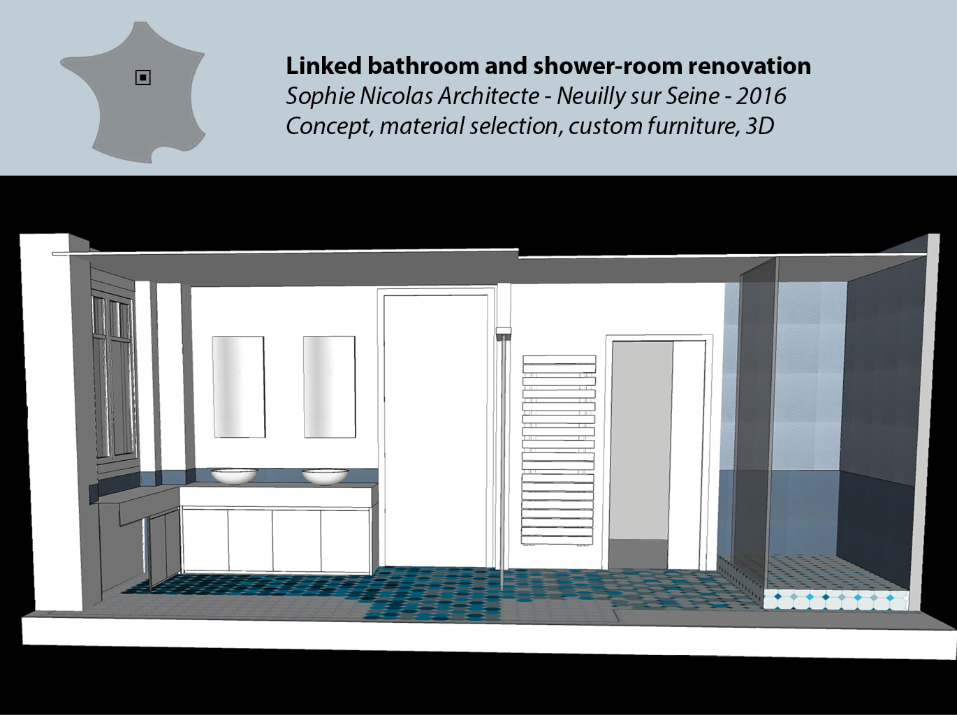 Linked bathroom and shower-room