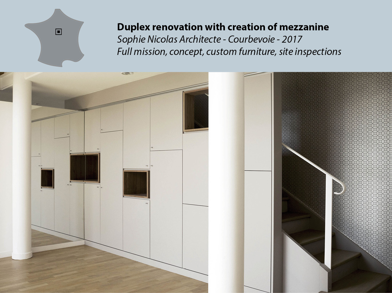 Duplex renovation with creation of mezzanine